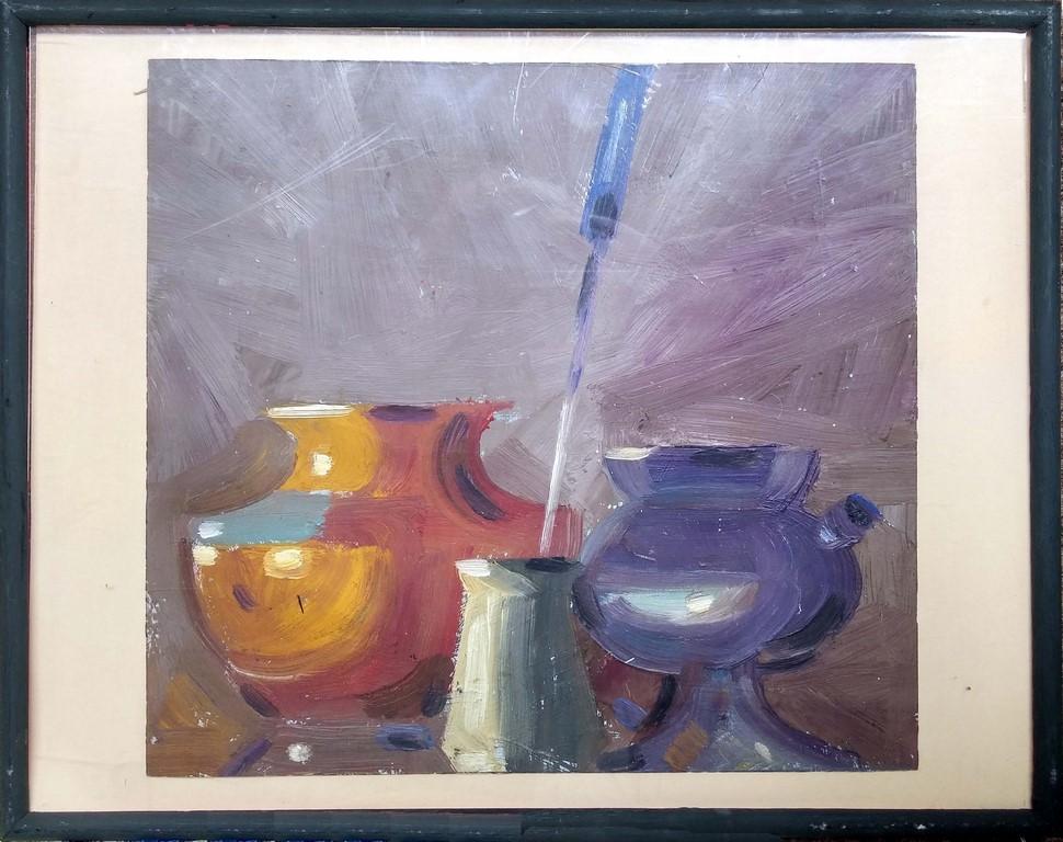Russischer Kubist Expressionist Öl Pappe \